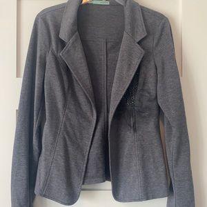 Gray embellished open front blazer